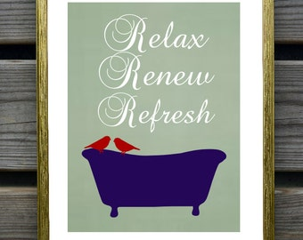 Bathroom Art Print, Bathtub, Birds, Relax, Renew, Refresh, Bathroom Wall Decor, Sage Green