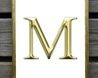 Gold Letter Art, Gold letter print, Personalized Monogram print, letter m,s,a,t,r,d,n,L, initial artwork, wedding gift, anniversary
