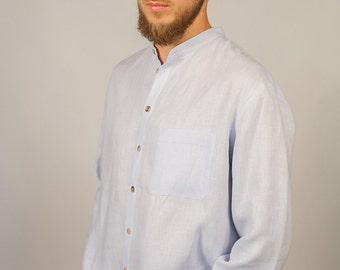 Linen Shirt For men With Stand/ Linen Classic Shirt Mens/ Linen Dress Shirt For Men/ Flax Shirt Men