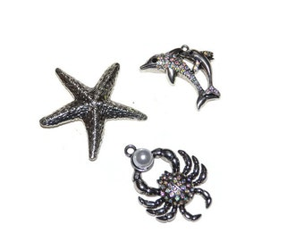 Sea Creatures Pendants Antiqued Silvertone Rhinestone Embellished Jewelry Supplies Set of Three