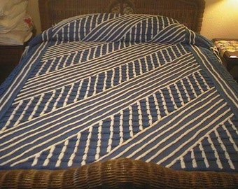 Sale - Midnight BLUE with Blue and WHITE Crosshatch, White Stripes and Blue Fan Designs Vintage Chenille Bedspread - Free Shipping