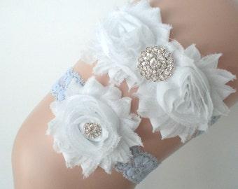 Bridal Garter Set - Keepsake & Toss Wedding Garters - Chiffon Frayed Flowers Rhinestone Garters - Something Blue - White Ivory Blue Lace