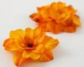 Fiery Orange Flower -  Hair Clip - SET of 2  - Summer Autumn Fall Warm Tangerine Red Orange Color - Realistic Accent for any hairstyle