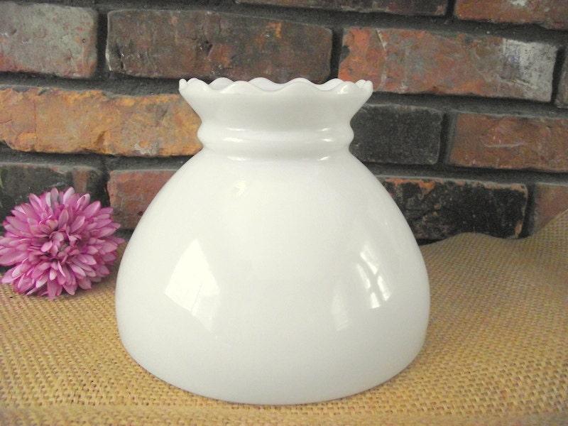 Antique Milk Glass Lamp Shade Parlor Fenton 8 Fitter Oil