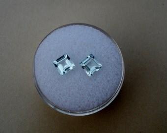 Aquamarine Square Gem Pair 4mm each