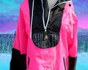 OP Ocean Pacific 90's Surfer Hot Pink Neon Color Block Windbreaker Jacket