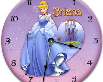 "10.5"" CINDERELLA Wall clock, Nursery art clock, Personalized clock, custom room decor clock"