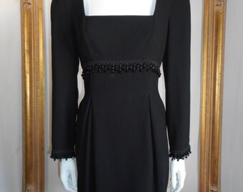 Vintage 1990's A.J. Bari Black Cocktail Dress - Size 8