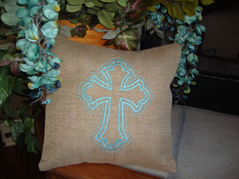 Decorative Pillows With Crosses : Spiritual Cross Burlap Throw Pillow Cover Teal Throw Pillow