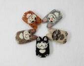 Needle felted cat brooch, Flat Cat pin, brooch, kittens, wool miniature felted cat portrait, yellow tabby, tuxedo cat, orange cat, tan