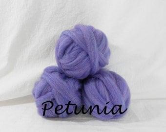 Wool roving in Petunia, 1 ounce wool roving for needle felting, wet felting, spinning, 1 oz wool roving sampler, dyed wool sampler