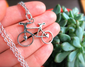 Sweetheart Bicycle Silver Charm Necklace-Hearts, Road trip, Outdoors, Wheels, Bikes, Hipster Geekery-Gift for Her-BFF Jewelry-Summer Fashion