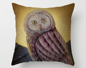 Soft Woven Poplin Pillow Cover (with insert option), Printed with Night Owl Illustration, Artistic Fantasy Home DecoR