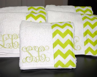 Monogrammed Towel Wrap with an Lime Green and White Chevron Trim