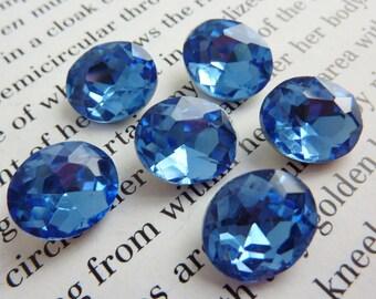 4 glass jewels, 12x10mm, light sapphire, oval