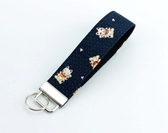 Teacher's gift idea, Wristlet Key Fob, Kimono Cotton, Lucky Cats Navy, Purple