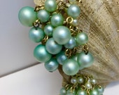 Mint Green Faux Pearl Clip Earrings