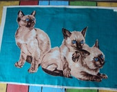 Vtg. MWT Ulster Tea Dish Towel Siamese Cat and Kittens TEAL
