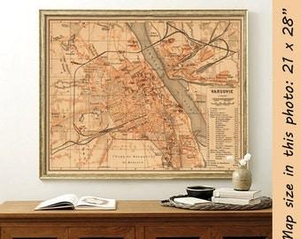 Old map of Warsaw  - La carte de Varsovie - Old City plan - Fine reproduction