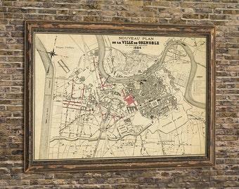 Grenoble map - La carte de Grenoble- Old map restored - Archival print