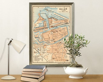 """Malmo map - Vintage map of Malmö - 15 x 22"""" Print"""