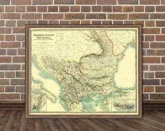 Antique Balkan Peninsula map print  - Old map of South East Europe - Romania, Bulgaria,  Turkey , Serbia, Albania map