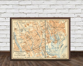 """Old map of Cardiff (Wales)  -  15 x 22"""" Print"""