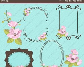 Floral Clip Art - Digital Flowers , Apple blossoms , Wedding clipart, Digital Floral frames, Wedding invitations, Scrapbooking set