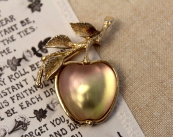 Vintage, Gold Brooch, Sarah Coventry, Apple, Pin, Antique