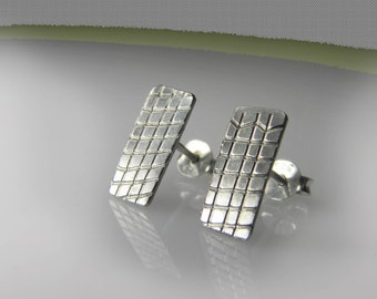 sterling silver earrings, small stud earrings, textured earrings, contemporary