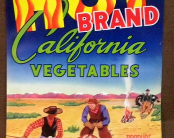 Crate Label Hot Brand Vegetables lithograph crate label never used 1930s vintage