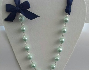 Mint Green Pearl and Navy Ribbon Bow Necklace