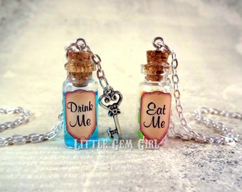 Eat Me Drink Me Bottle Necklace Set - Alice in Wonderland Jewelry - Blue Shimmer Liquid with Key - Eat Me Bottle Charm - Friendship Necklace