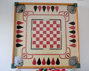 Checkers, Carrom, Backgammon Double Sided Game Board with Pockets and Pieces