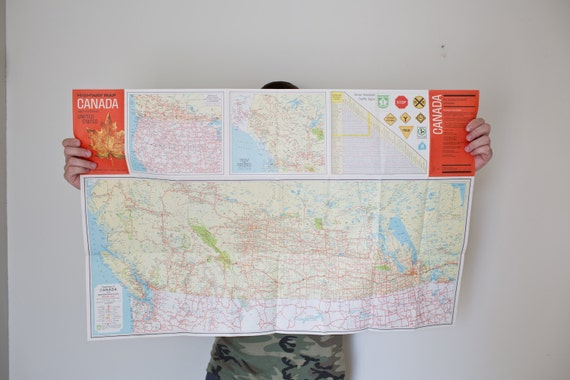 Vintage Canada Map Us Map Canada And Northern United States Map Highway Map 1965 From Whiskyginger On Etsy Studio