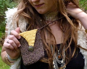 Crochet Gypsy Pouch. Pouch Necklace. Hippie. Shoulder Bag. Sunflower Button. Cross Body. Coin Purse. Yellow. Festival. Sachel. Handmade.