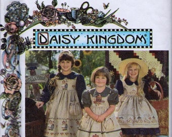 Simplicity 9458 Child's Dress and Pinafore Pattern, UNCUT, Size 3-4-5-6, Daisy Kingdom, Party Dress, 1995, Vintage, Calf Length