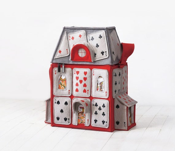 House Of Playing Cards Felt Bag Alice in Wonderland Purse House Of Playing Cards