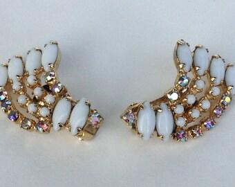 1950s White and Aurora Borealis Rhinestone Earrings
