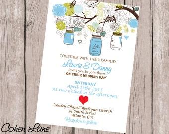 Simple Printable Wedding Invitation.  Wedding Ceremony Invitation.  Mason Jar Wedding Invite