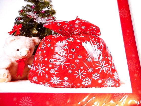 Snowflake Gift Bag Giant Christmas Holiday Opaque Red White