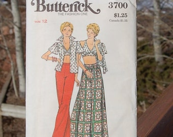 Butterick 3700 Size 12 Seventies Fashion  Pants, Halter  Bikini Top Maxi Skirt  UNCUT