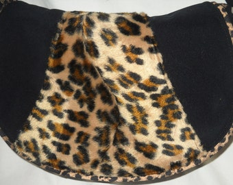 """Faux Leopard and Black Brushed Poly  """"Rosie"""" Purse, vintage fashion"""