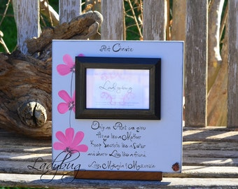 """Only an aunt can give hugs like a mother.... Picture frame 12""""x12"""". Customize your own frame by Ladybug Design by Eu"""
