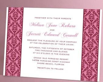Damask, Vintage Inspired, Traditional Wedding Invitation Suite, Burgundy and White, Black and White, Other Colors Available