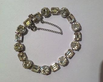 Vintage Eisenberg Rhinestone Bracelet Silver Tone Wedding?