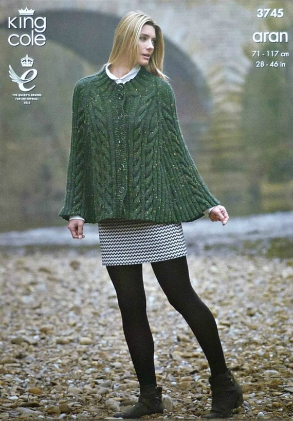 King Cole Poncho Knitting Pattern : Womens Knitting Pattern K3745 Ladies/Childrens Cable Cape or