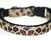 "Leopard Print 3/8"" Adjustable Dog Collar"