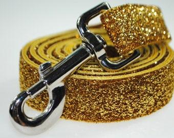 "Gold Metallic Glitter 1"" Width  Leash"