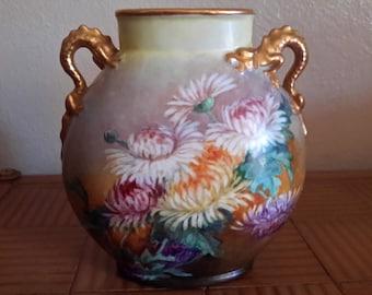 Antique JEAN POUYAT LIMOGES Hand Painted Vase Dragon Handles Chrysanthemum Flowers Jpl Porcelain